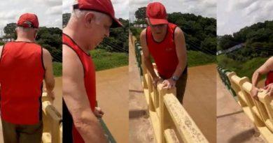 """Idoso """"brinca de se pendurar"""" em ponte, cai no rio e desaparece em Marabá"""
