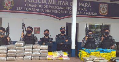PM de Juruti apreende mais de 170 kg de drogas dentro veículos transportados em um navio