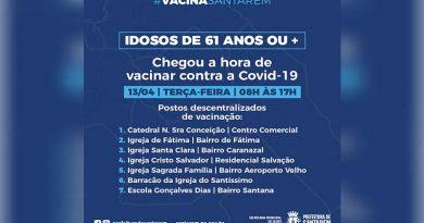 Começa nesta terça-feira (13) a vacinação de idosos a partir de 61 anos em Santarém